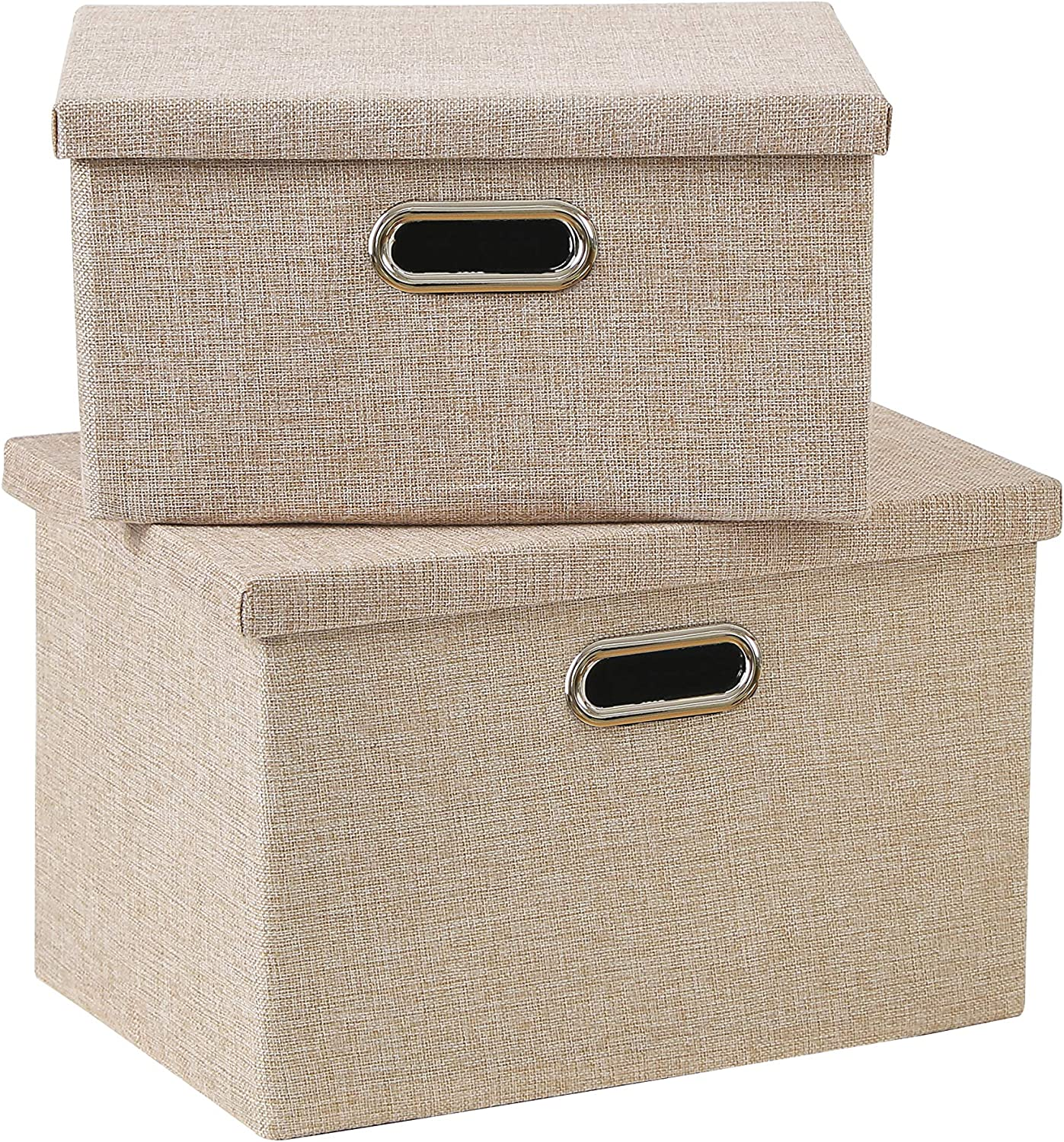 Enzk&Unity Foldable Lidded Storage Bins Cube Linen Fabric Storage Basket with Handle Organizer Box Containers for Shelf Home Office Closet Nursery, 2 Pack, Beige