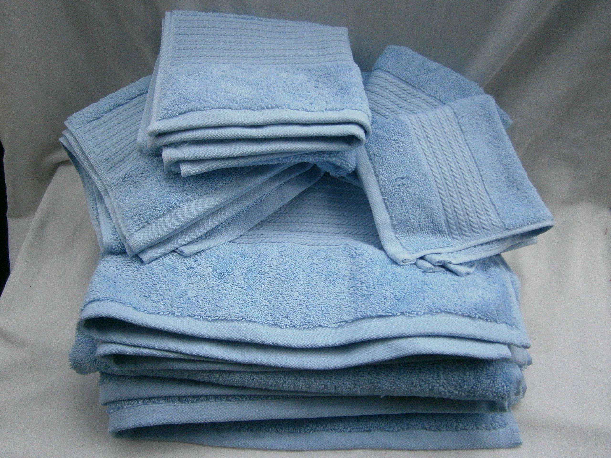 Lauren Ralph Lauren Greenwich OCEAN TIDE Baby Blue 6 piece Towel Set; 2 Bath, 2 Hand, 2 Washcloths by Polo Ralph Lauren Home Collection Showroom LLC