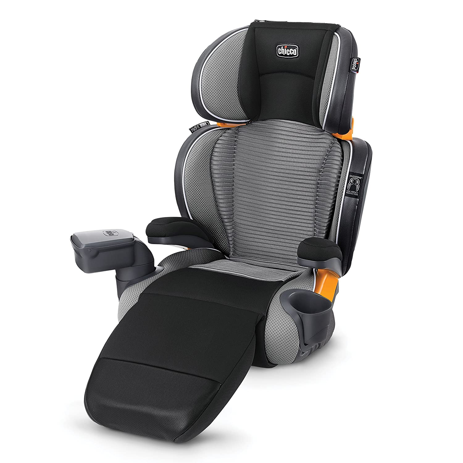 Chicco KidFit Zip Air Plus 2-in-1 Belt Positioning Booster Car Seat - Q Collection, Black/Grey