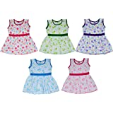 Sathiyas Baby Girls Colourful Gathered Dresses (Pack of 5)