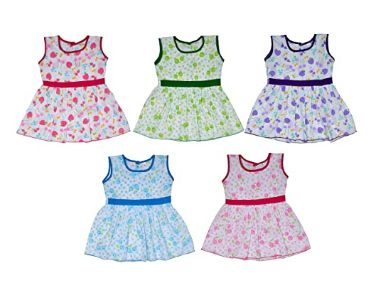 Sathiyas Baby Girls Colourful Gathered Dresses (Assorted print and color )(Pack of 5) Baby Girls at amazon