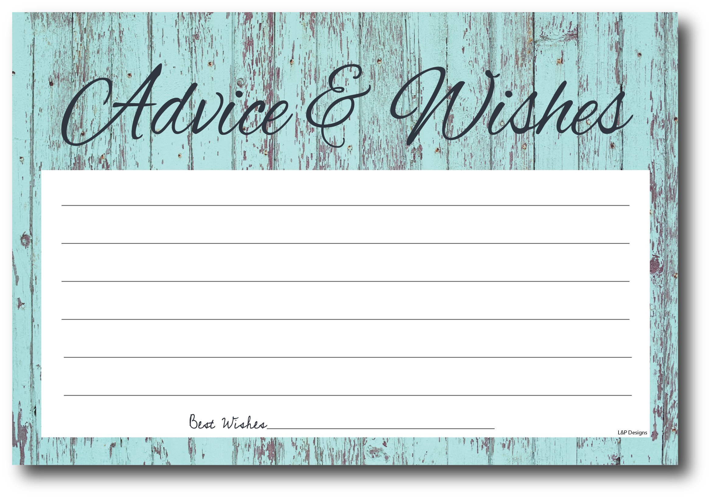 50 Rustic Blue Wood Gender Neutral Advice And Wishes Cards, Any Occasion, Two Grooms or Two Brides Advice Cards, Wedding Advice Cards, Bridal Shower, Advice For The Bride, Baby Shower Advice Cards by L&P Designs (Image #1)