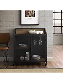 WE Furniture AZU33SOIBCRO Bar Cabinet, Rustic Oak