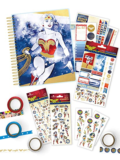 Paper House Productions SET0012 Wonder Woman Planner and Accessory Bundle includes 18 Month Undated Planner 4 Sticker Styles, Washi Tape