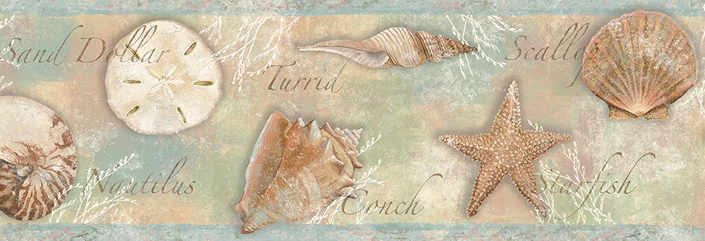 Chesapeake BBC46051B Quinten Seashells Toss Wallpaper Border, Blue