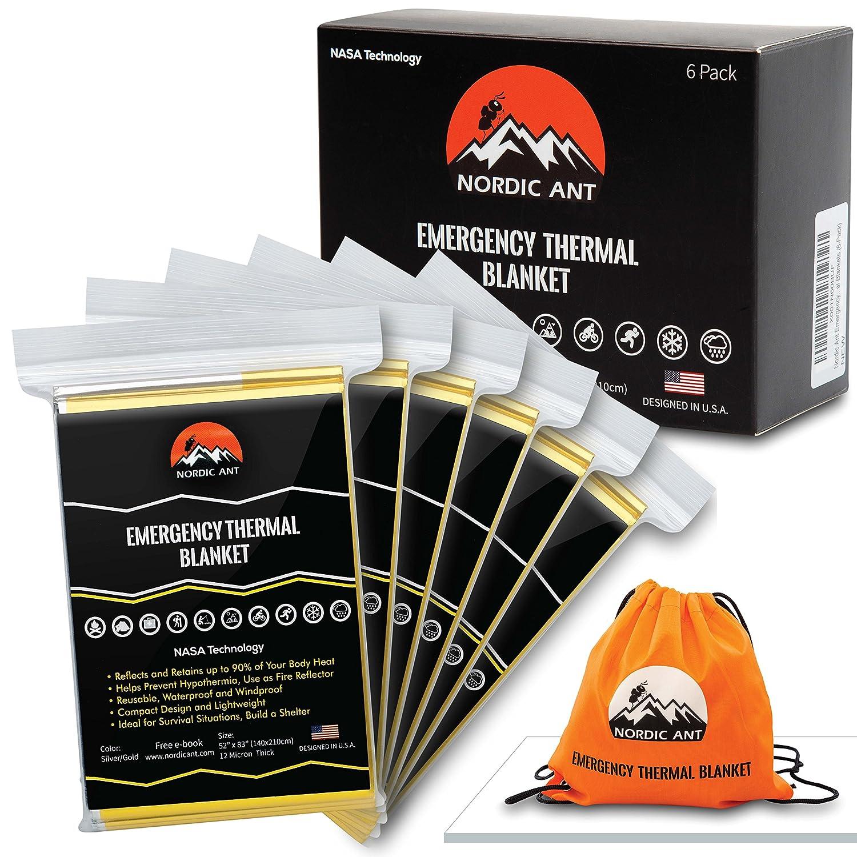 Nordic Ant 非常用サーマルブランケット 6枚パック マイラー宇宙ブランケット NASA ハイキング アウトドア バックパッキング マラソン サバイバル 応急処置キット ボーナス:巾着袋+eBook B077VQ6YCF