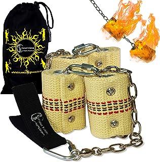 Flames 'N Games Coppia di Catene Fire Poi 4 x 65 mm Kevlar Fire Wick Doppio bruciatore (Double Burner), Anelli a Doppia ansa, Cuscinetti girevoli Borsa da Viaggio