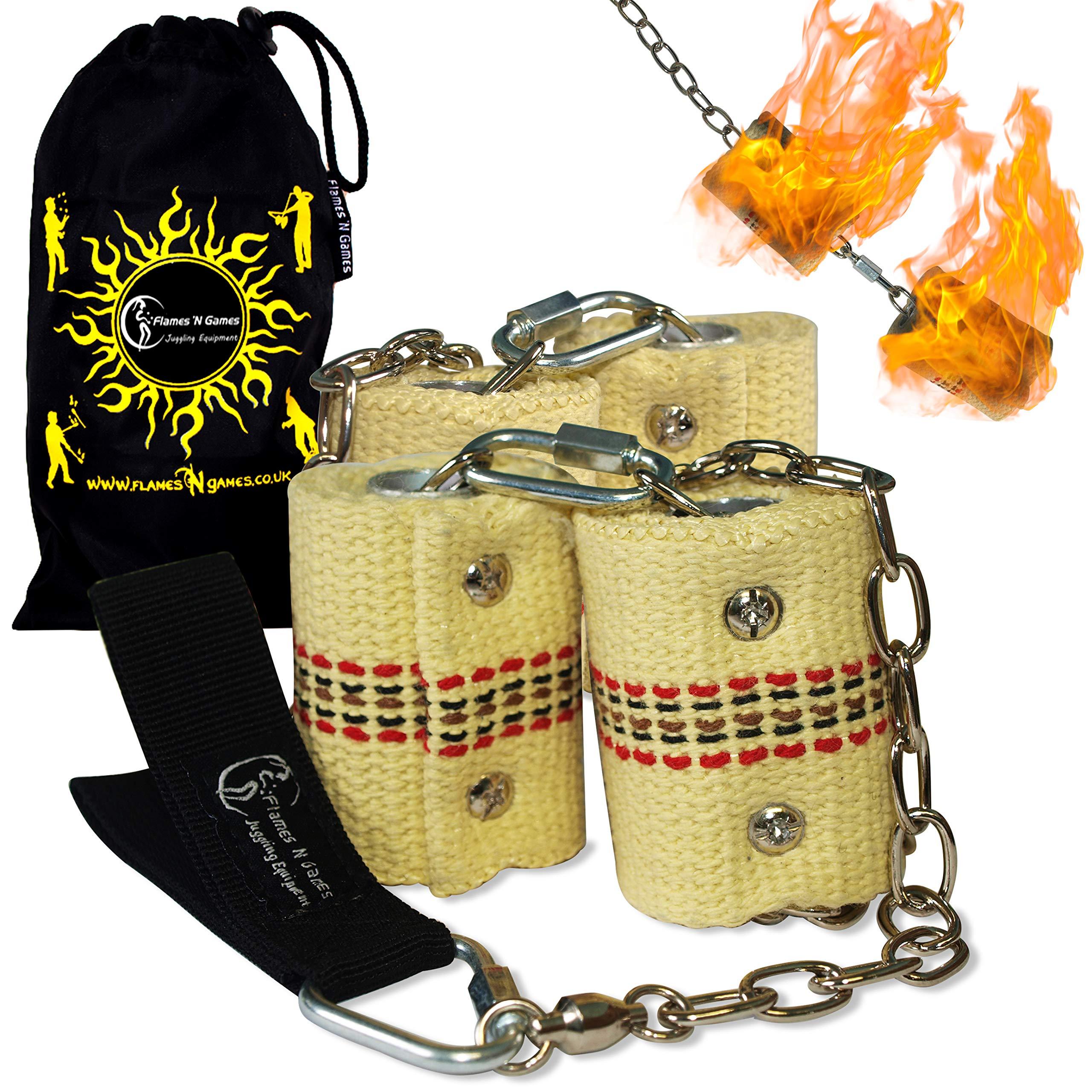 Pro Fire Poi Set - Double Burner - 4x65mm Wicks by Flames N Games + Travel Bag! by Flames 'N Games Poi (Image #3)