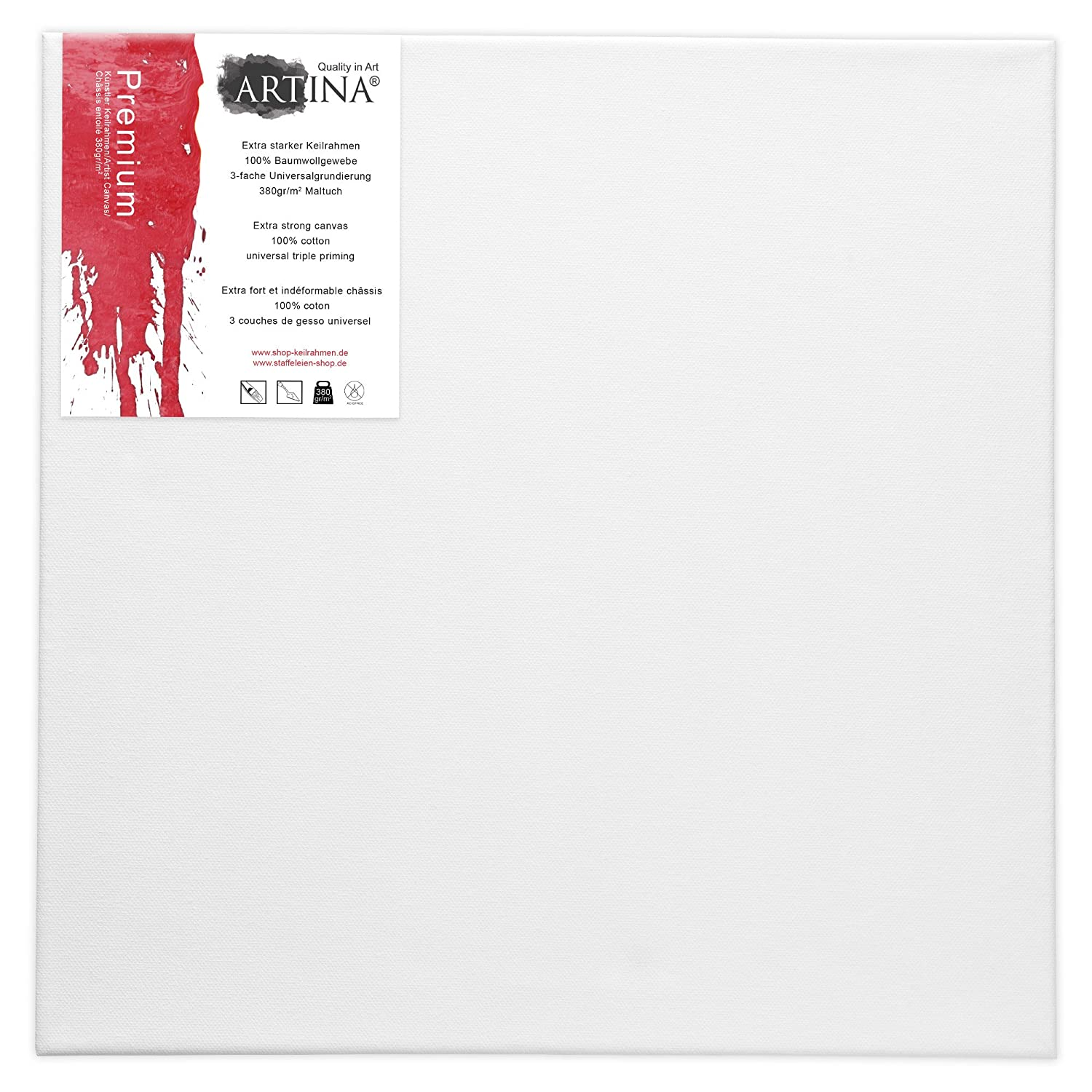 4 PREMIUM DEEP EDGE STRETCHED BLANK CANVASES 70 x 70 cm ~27x27 in canvas on stretcher bars