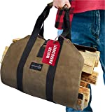 Outdoor 360 Firewood Carrier Bag - Waxed Canvas Tote Bag with
