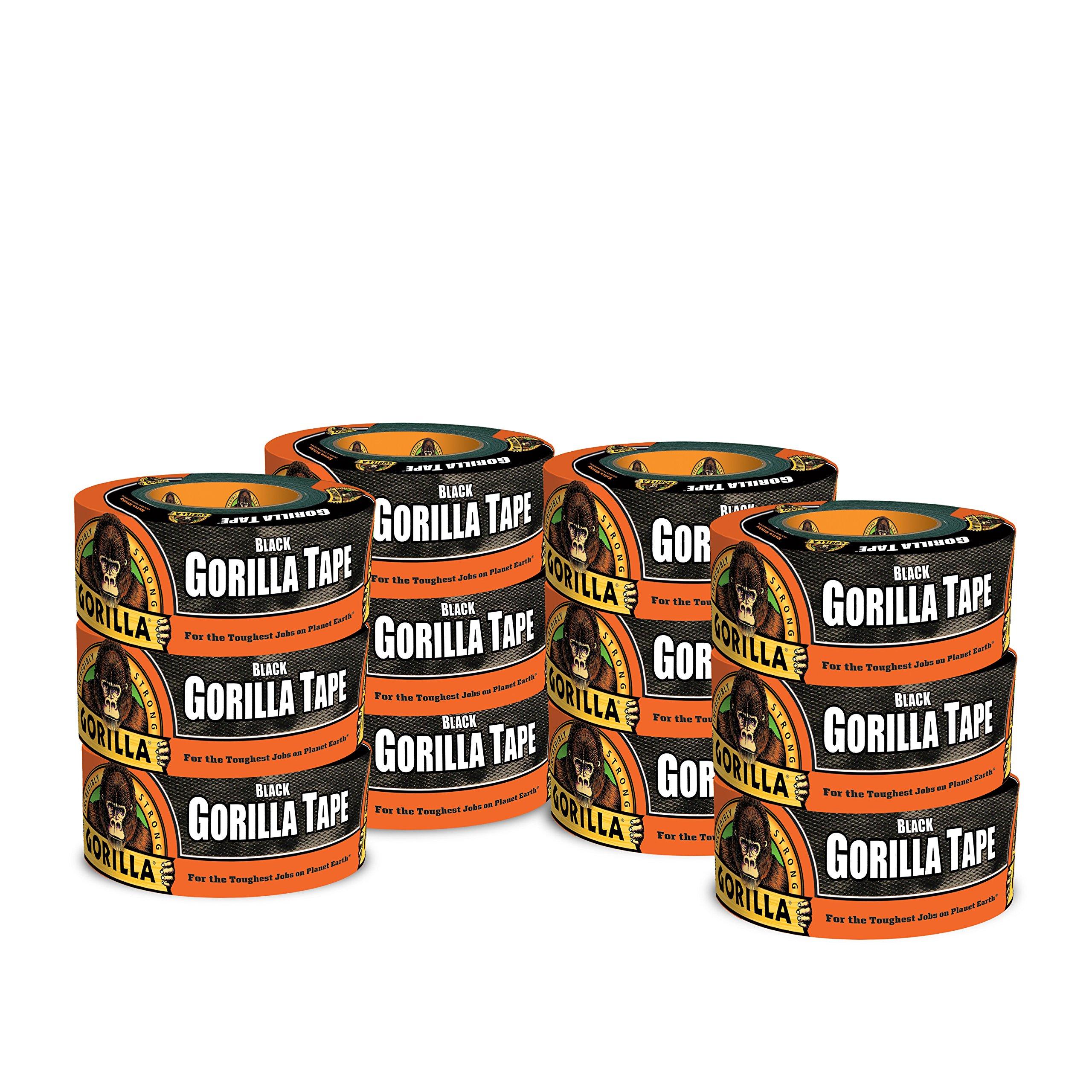 Gorilla Tape, Black Duct Tape, 1.88'' x 12 yd, Black, (Pack of 12)