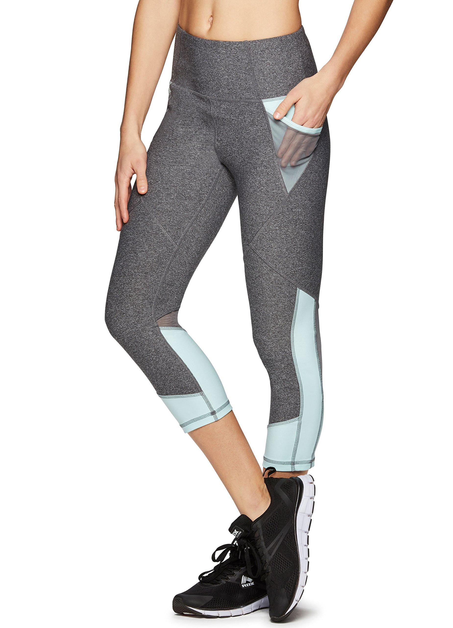 RBX Active Women's Mesh Tech Pocket Yoga Capri Leggings Charcoal Grey M