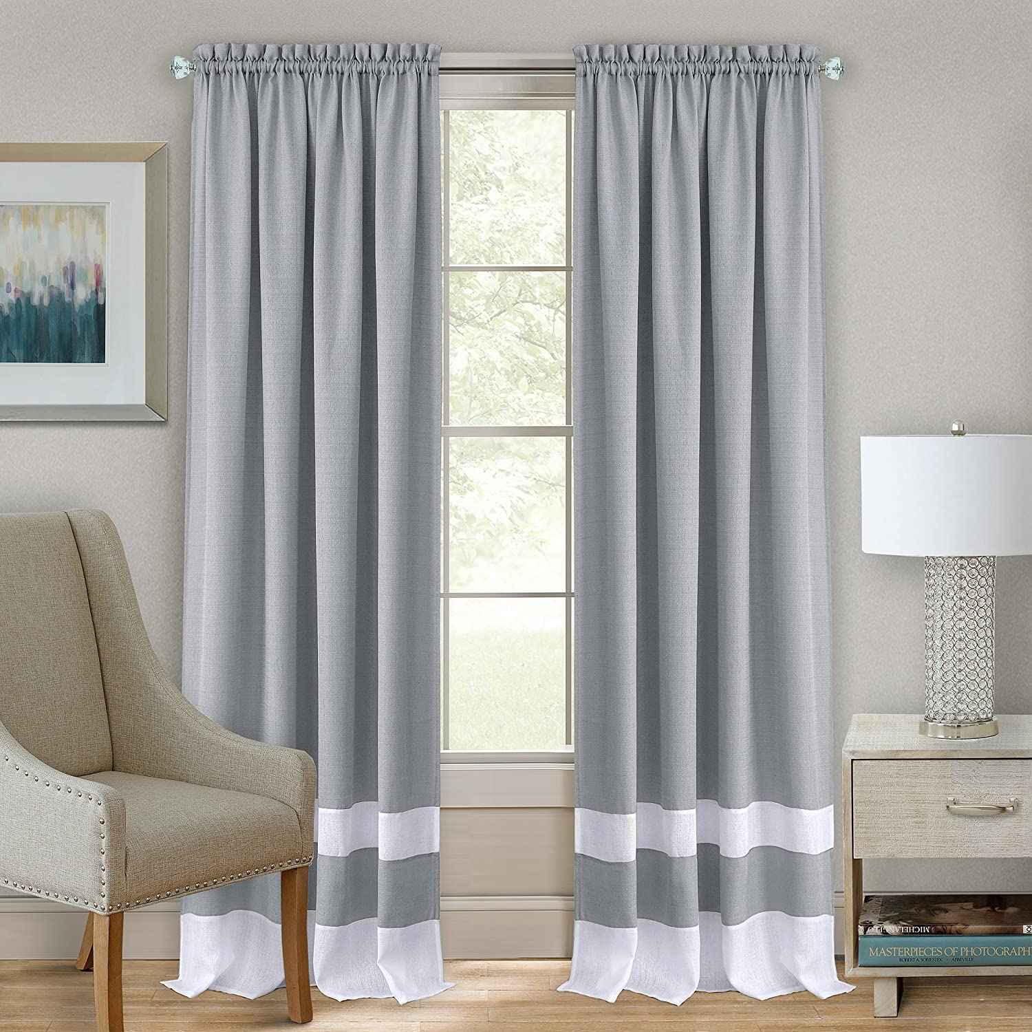 "Achim Home Furnishings Essense Grommet Window Curtain Panel, Blue, 52 x 63-Inch, Rod Pocket 52"" x 63"", Grey & White"