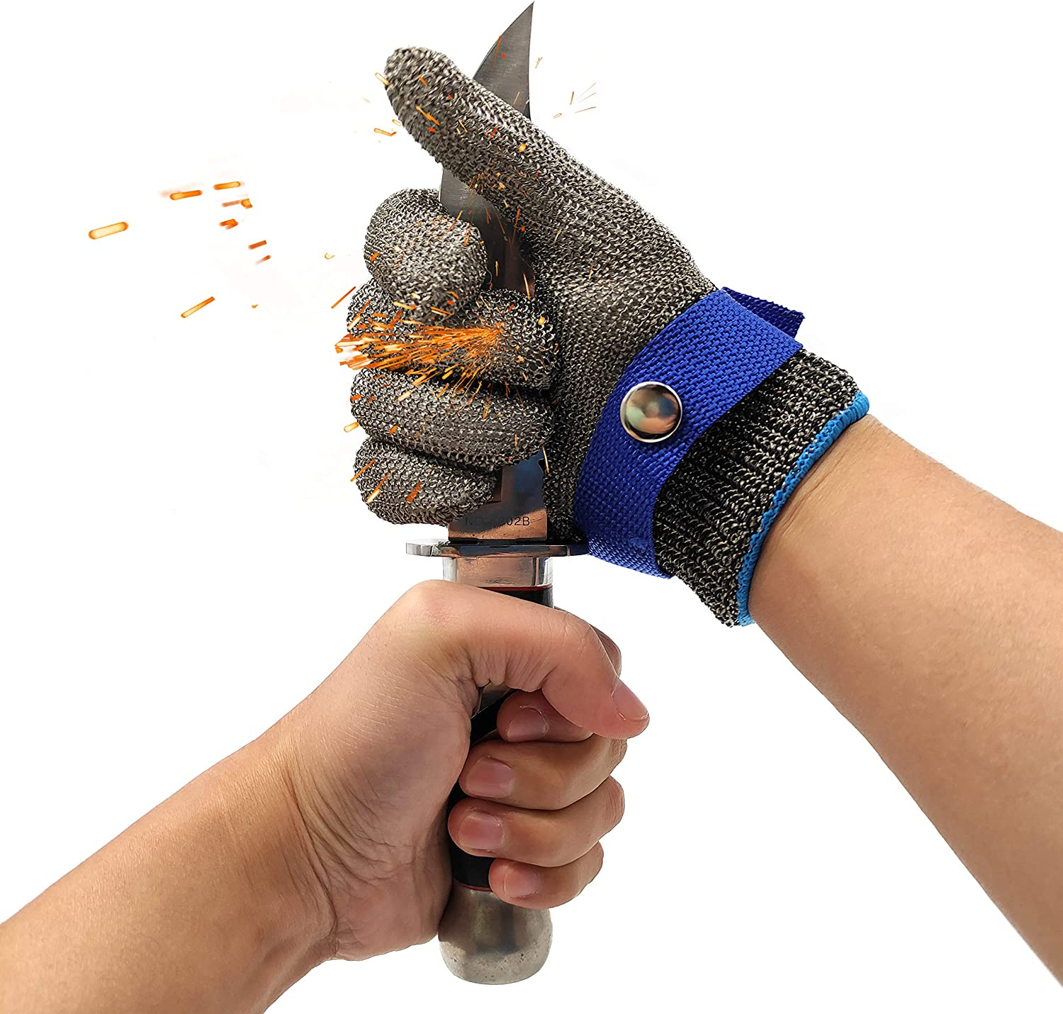 Cut Resistant Gloves-Stainless Steel Wire Metal Mesh Butcher Safety Work Gloves for Meat Cutting, fishing (Large) - -