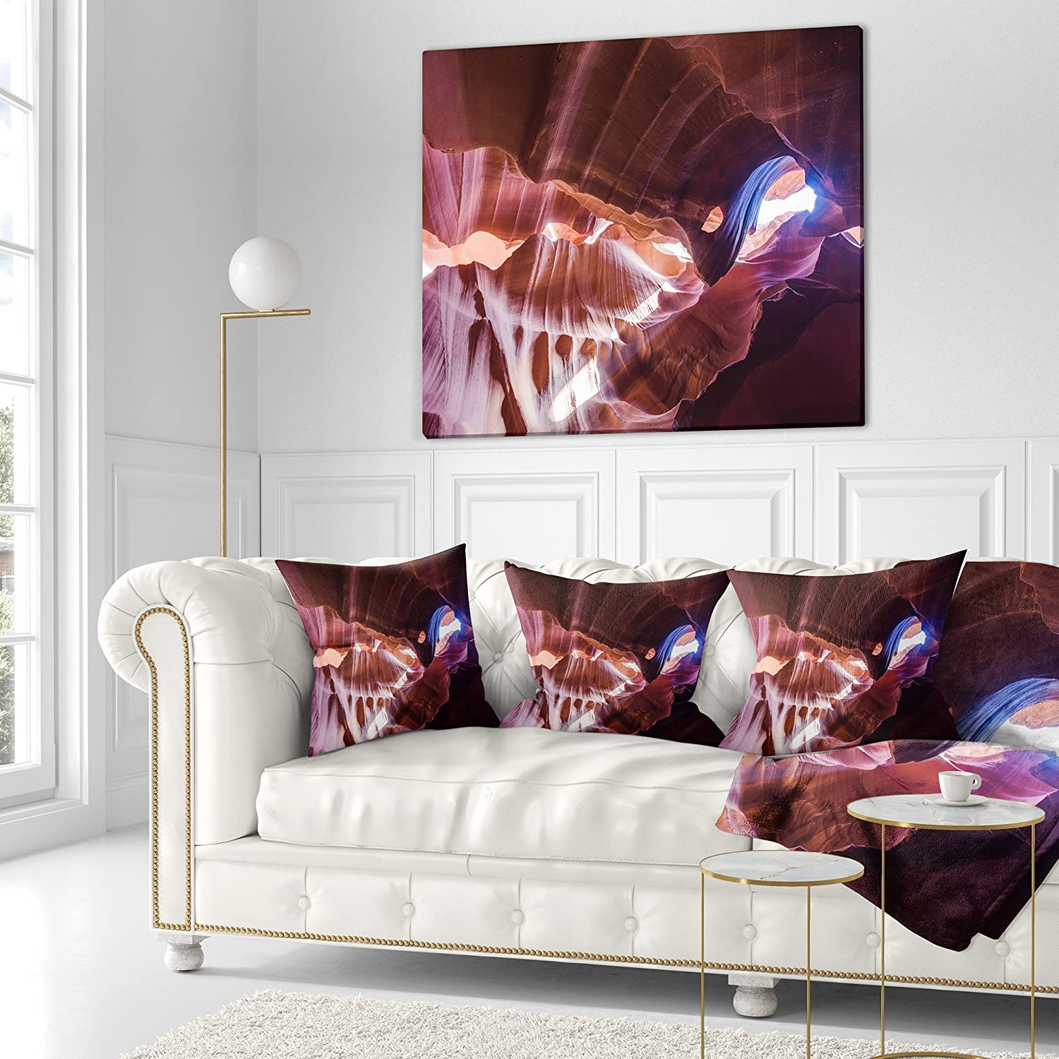 Designart CU8826-16-16 Blue Light in Antelope Canyon Landscape Photography Cushion Cover for Living Room Insert Printed On Both Side in Sofa Throw Pillow 16 in x 16 in
