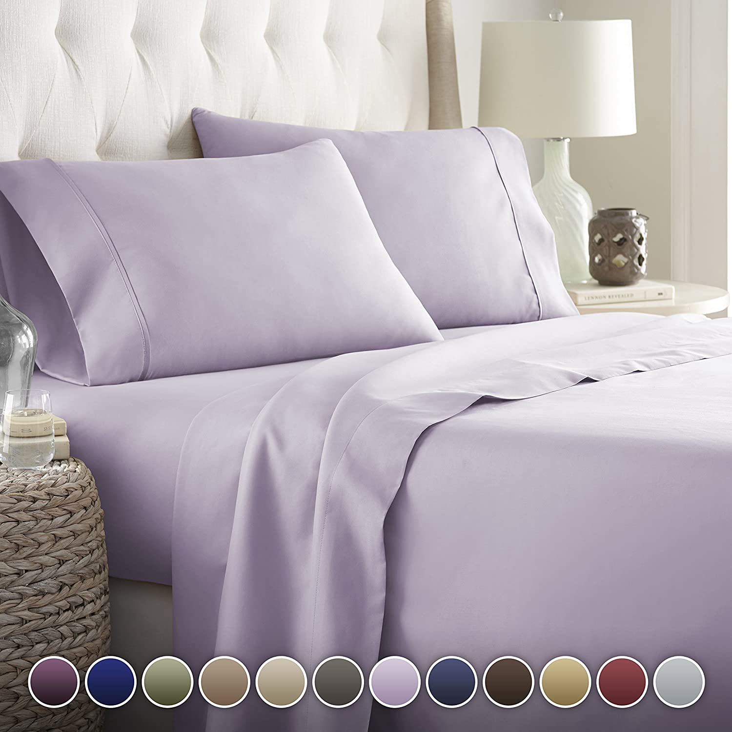 Hotel Luxury Bed Sheets Set Today! On Amazon Soft Bedding 1800 Series Platinum Collection-100%!Deep Pocket,Wrinkle & Fade Resistant (Calking,Lavender)