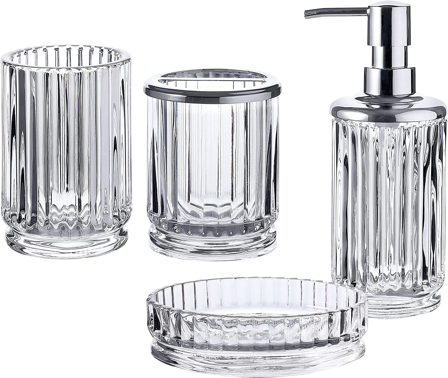 Amazon Com Whole Housewares Bathroom Accessories Set 4 Piece Glass Bath Accessory Completes With Soap Lotion Dispenser Toothbrush Holder Tumbler And Soap Dish Clear Home Kitchen