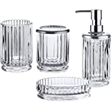 Whole Housewares Bathroom Accessories Set, 4-Piece Glass Bath Accessory Completes with Soap/Lotion Dispenser, Toothbrush…