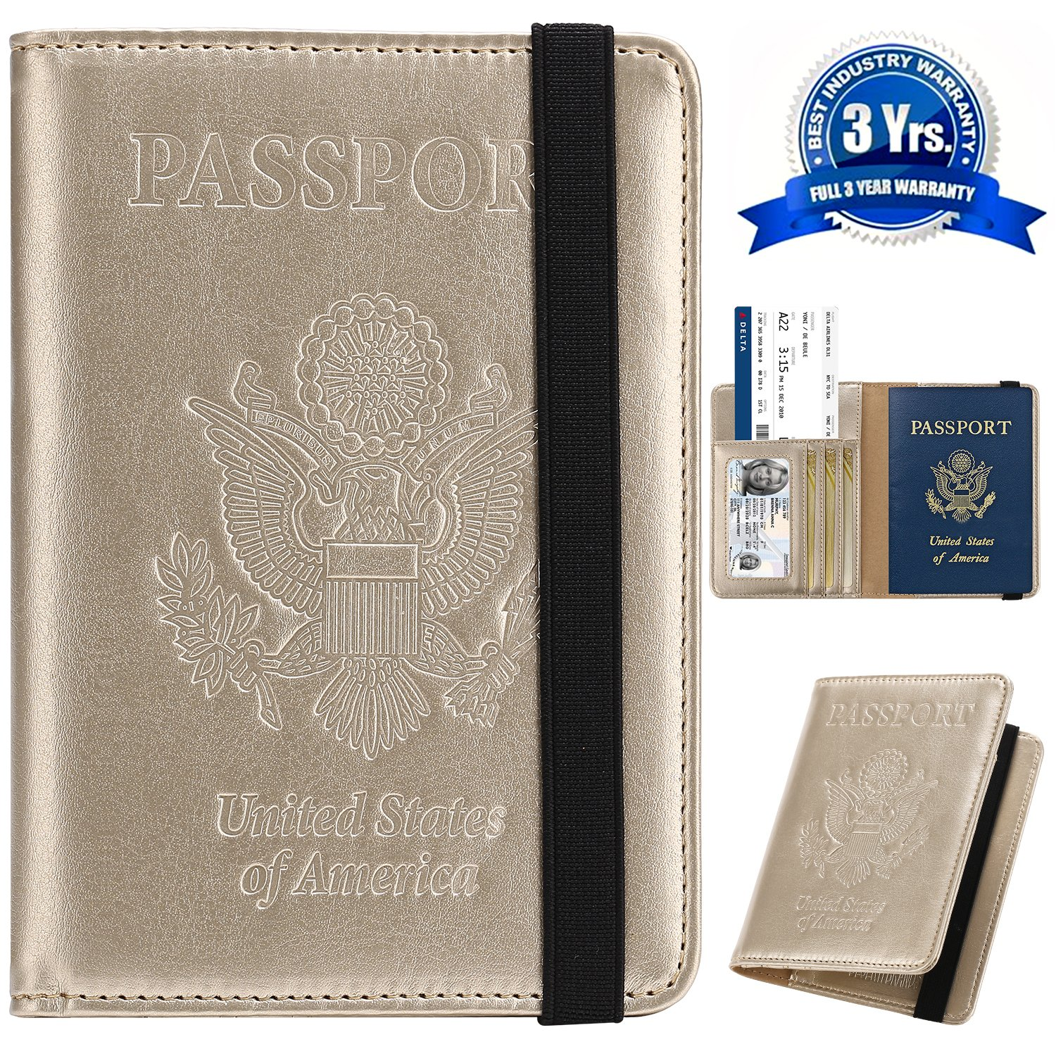 1e9076e5433a Passport Holder Cover Wallet DESERTI BRANDS RFID Blocking Leather Card Case  Travel Document Organizer - Gold