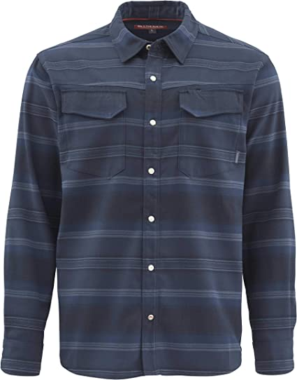 Simms Morada LS Shirt Free US Shipping Medium Blue Grey Plaid