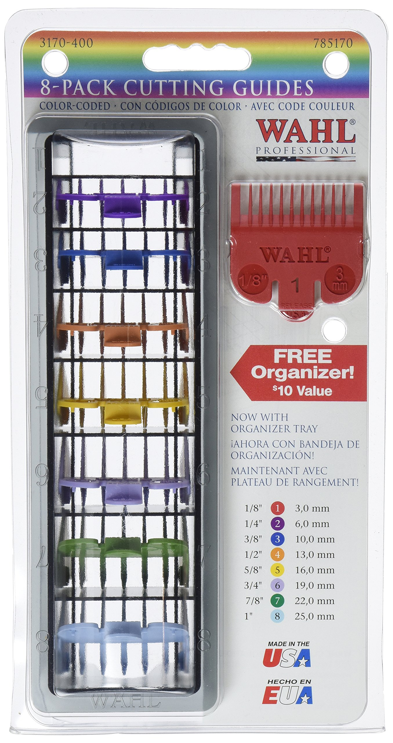 """Wahl Professional 8 Color Coded Cutting Guides with Organizer #3170-400 – Great for Professional Stylists and Barbers – Cutting Lengths from 1/8"""" to 1 by Wahl Professional (Image #3)"""