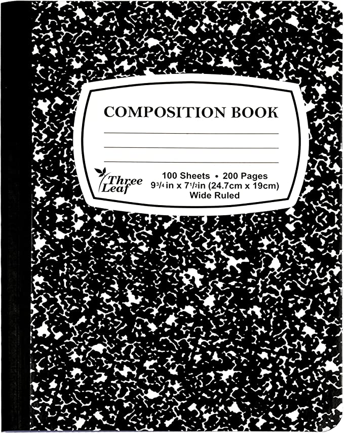 """Amazon.com : Black Marble Composition Notebook, 100-Count, Wide Ruled, 9  3/4"""" x 7 1/2"""" (12 PACK) : Writing Pencils : Office Products"""