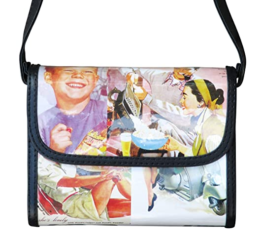 28d6d28e979 Small crossbody retro ads prints - FREE SHIPPING, upcycled style eco  friendly vegan recycled reclaimed repurposed reused materials shoulder  sling bag bags ...