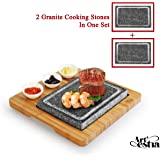 Artestia Double Cooking Stones in One Sizzling Hot Stone Set, Deluxe Tabletop Barbecue/BBQ/Hibachi/Steak Grill (One…