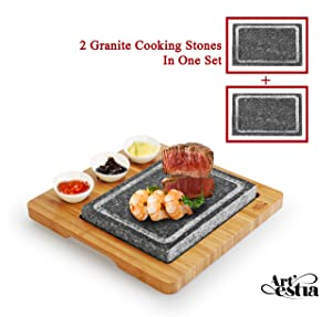 Artestia Double Cooking Stones Sizzling Hot Stone Set, Deluxe Tabletop Barbecue/BBQ/Hibachi/Steak Grill (Deluxe Set with Two Stones)
