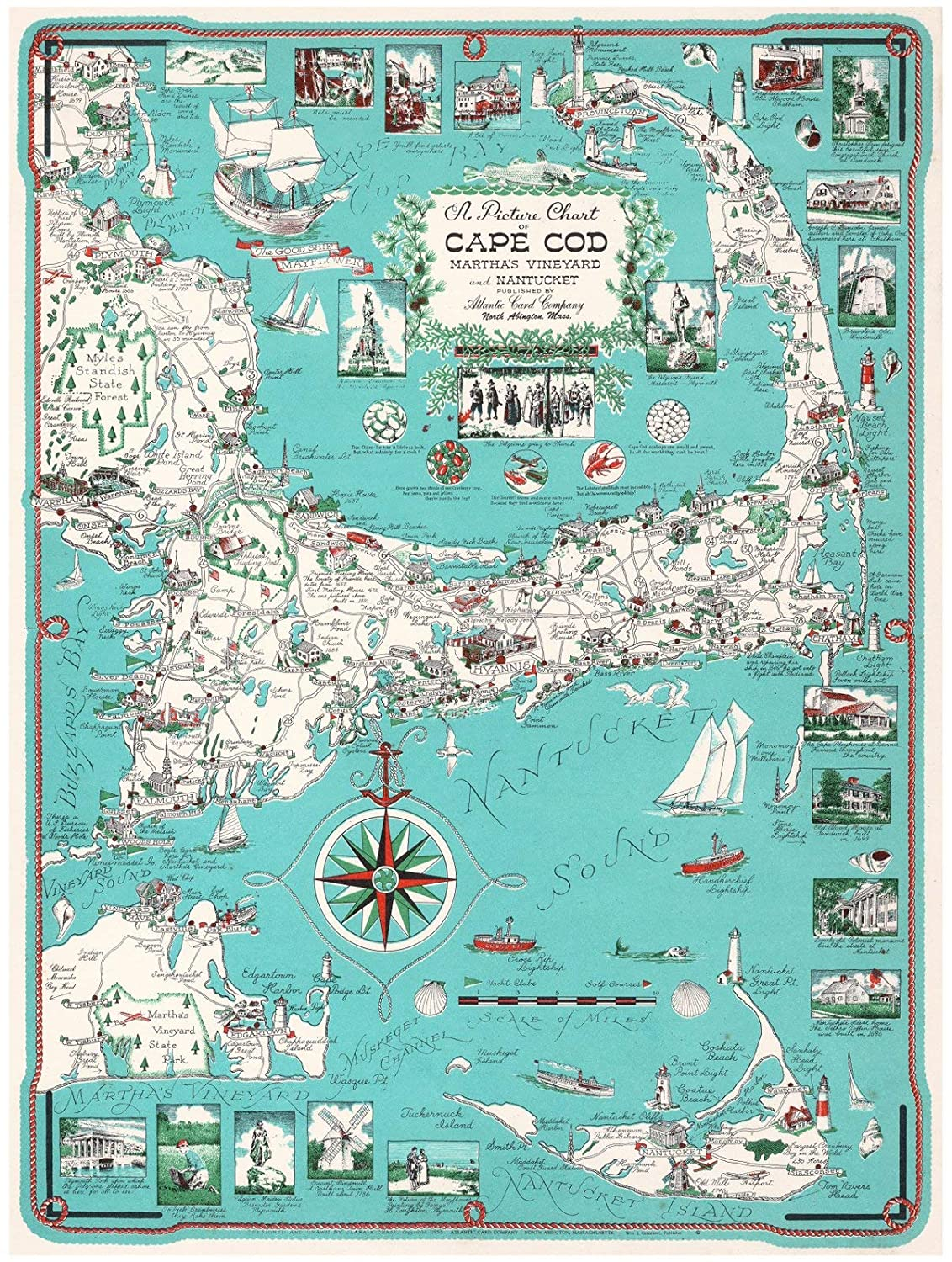 graphic relating to Printable Map of Cape Cod titled Historical Pictoric Typical Map Map of Cape Cod (with Kennedy Material) 1960 Ernest Dudley Chase 18 x 24 Good Artwork Print