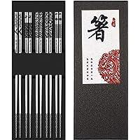 Metal Chopsticks Reusable 18/8 Stainless Steel Chopsticks Multipack Dishwasher Safe Chop Sticks Fancy Laser Engraved Non…