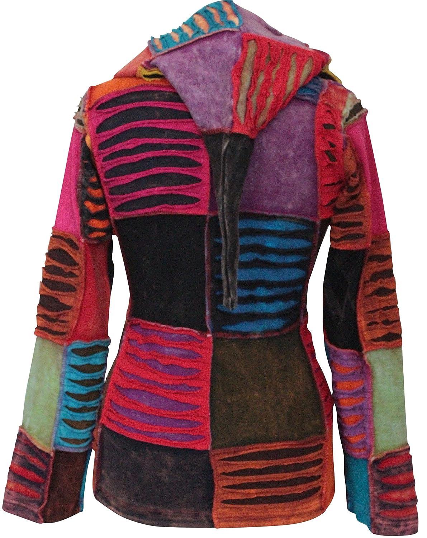 shopoholic fashion Pixie /à capuchon brod/é avec d/écoup/é couches Veste longue