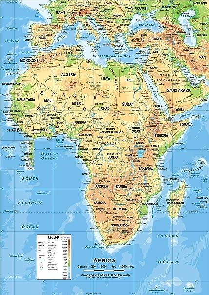 Amazon Com Academia Maps Africa Wall Map Fully Laminated