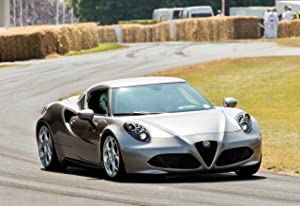 """Alfa Romeo 4C Goodwood Festival of Speed (2013) Car Art Poster Print on 10 mil Archival Satin Paper Silver Front Passenger Side Motion View 36""""x24"""""""