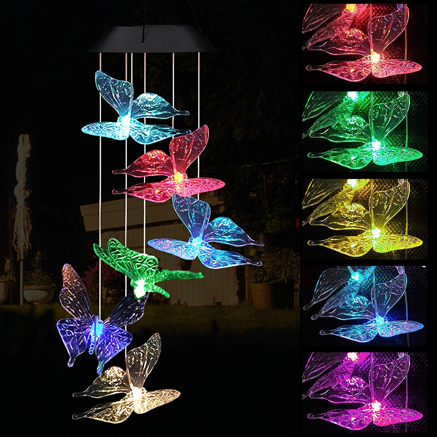 Camidy Solar LED Wind Chime,Spinner Butterfly Shaped Windchime Haning Color Changing Waterproof Decorative Windbell Light for Home Balcony Garden