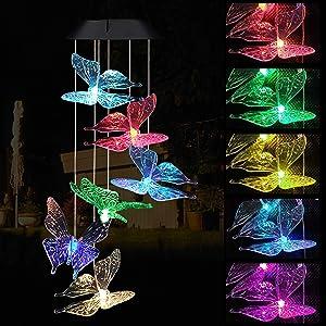 LED Solar Butterfly Wind Chimes Outdoor - Waterproof Mobile Changing Light Color Butterflies Wind Chime Decor, Butterfly Windchime for Home, Gift For Mom, Festival, Night Garden Decoration(blackboard)