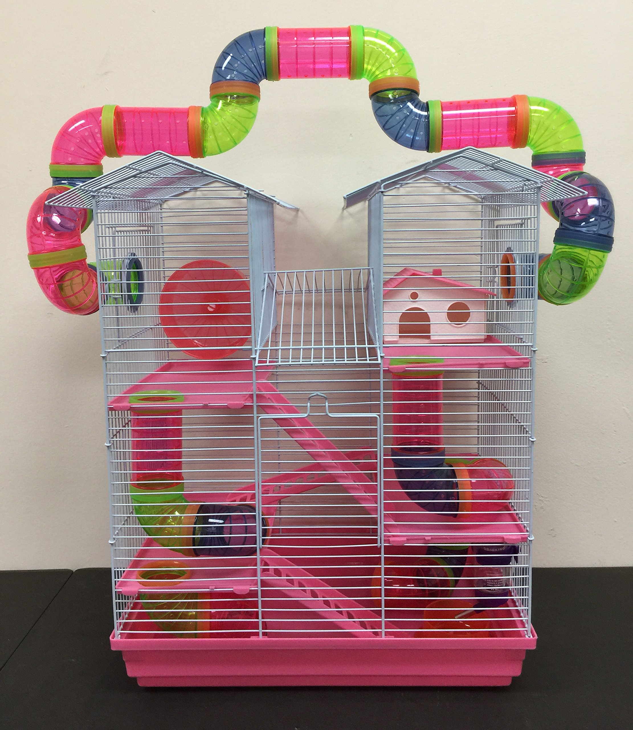 NEW Large Twin Towner Habitat Hamster Rodent Gerbils Mouse Mice Guinea Pig Cage (Pink, With Crossing Tube)