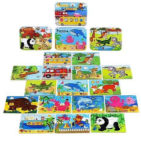 BBLIKE Puzzles Infantiles 3 años, Animal Colorido con Placa ,Rompecabezas Pizarra con Caja para