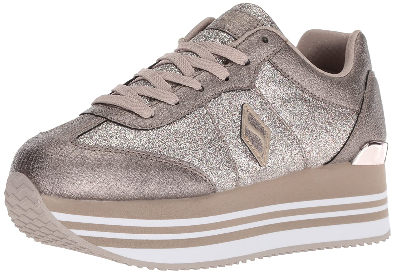 Skechers Women's Highrise-Glitter T Toe Sneaker B0787HH4RQ 7 M US|Pewter