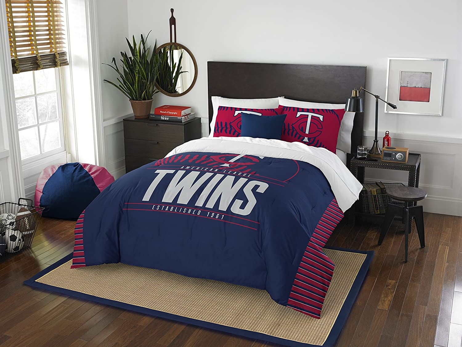 """Officially Licensed MLB Full/Queen Grand Slam Comforter & Sham Bedding, Soft & Cozy, Washable, Throws & Bedding, 86"""" x 86"""""""