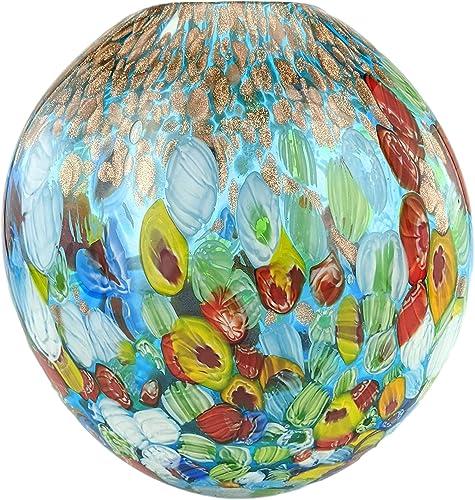 New 7″ Hand Blown Glass Murano Art Style Vase Blue Italian Millefiori Multi-Color Gold Golden Flecks Flower