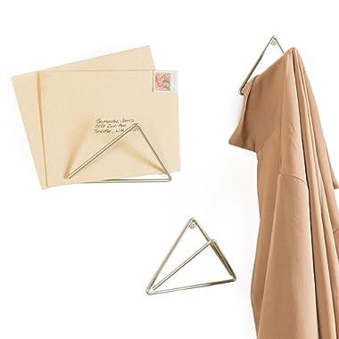 MyGift Set of 3 Gold-Tone Metal Wall-Mounted Triangular Mail Holders/Coat Hooks