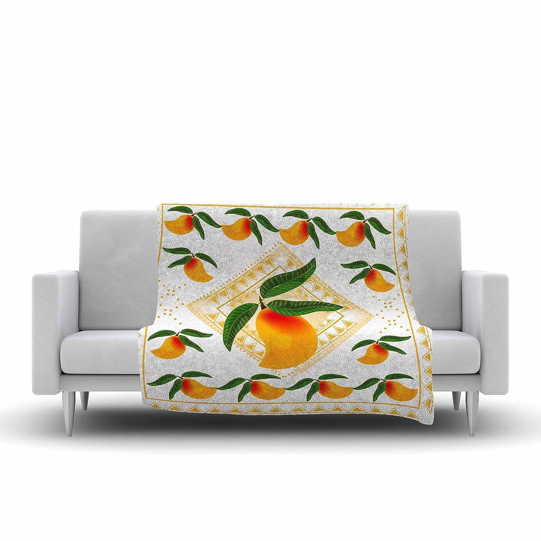 Kess InHouse Famenxt Fresh Farm Mangoes Orange Peach Fleece Throw Blanket 80 by 60