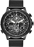Citizen Navihawk Men's Eco-Drive Watch with Black Dial Analogue Display and Black Plated Stainless Steel Bracelet JY8033-51E