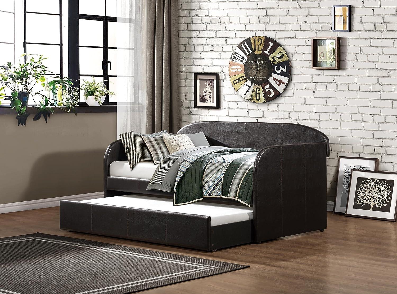 amazoncom homelegance daybed with trundle dark brown bicast vinyl kitchen u0026 dining