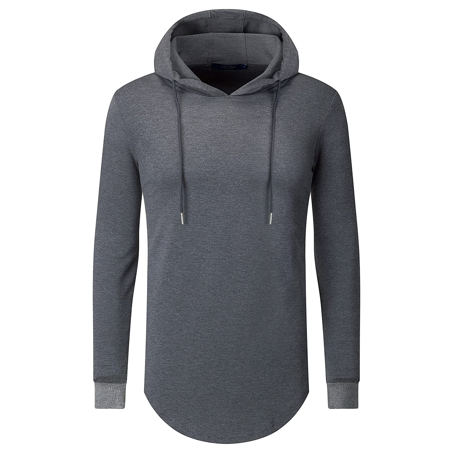 Aiyino Mens Hipster Hip Hop Longline Pullover Long Sleeve Hooded Shirt