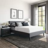 Classic Brands Mornington Upholstered Platform Bed | Headboard and Metal Frame with Wood Slat Support, Full, Grey