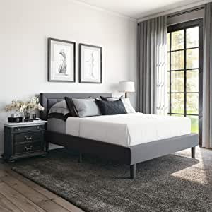 Classic Brands Mornington Upholstered Platform Bed Headboard And Metal Frame With Wood Slat Support Queen Grey Furniture Decor