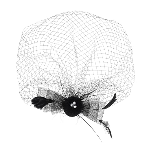 3f126c5a594 Kloud City Bridal Feather Veil With Hair Clip Birdcage Women s Fascinator  Veil (Black)