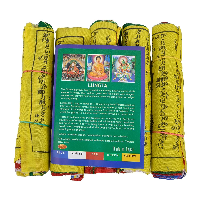 - FH-FLAG-102 Lungta M5 Mantras And Wind Horses Bermoni Tibetan Buddhist Fluttering Prayer Flags 5 strings x 25 flags